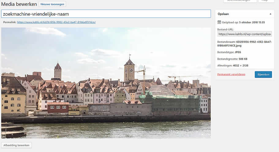 Voorbeeld foto achteraf bewerken in WordPress