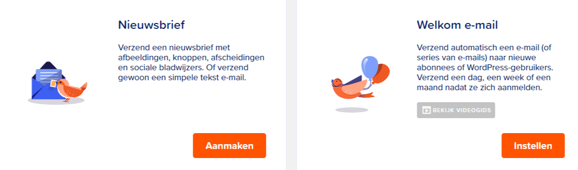 Mailpoet handleiding, voorbeelden verschillende soorten e-mails