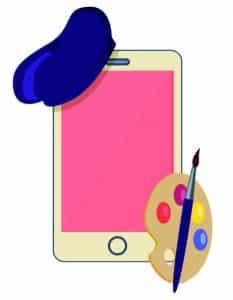 cartoon smartphone met baret en palet