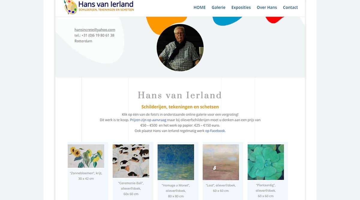 Hans van Ierland Homepage website